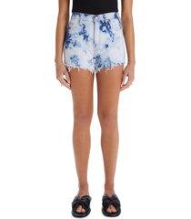 women's mother the tomcat fray hem denim shorts, size 32 - blue
