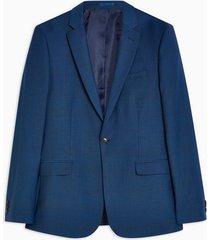 mens navy skinny fit single breasted premium check suit blazer with notch lapels