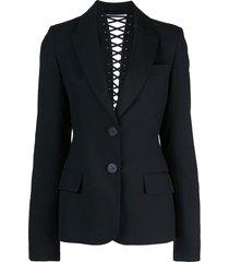 vera wang lace up back detail blazer - black