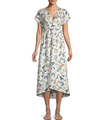 saks fifth avenue women's floral-print linen a-line dress - evie floral - size xs