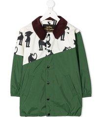 mini rodini panther-print lightweight jacket - green