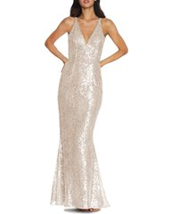 women's dress the population sharon lace sequin plunge neck mermaid gown