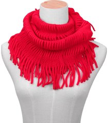 donna sciarpa invernale in maglia calda pesante con frange