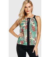 yoins patchwork con estampado floral al azar redondo cuello blusa sin mangas