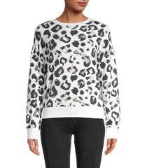 for the republic women's leopard-print crewneck sweatshirt - snow leopard - size l