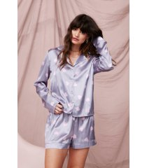 womens love of your own life heart pajama shorts set - grey