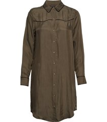 shirt dress in cupro viscose blend jurk knielengte groen scotch & soda