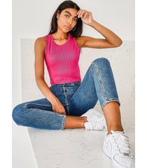 tall rib 90's racer crop top, coral
