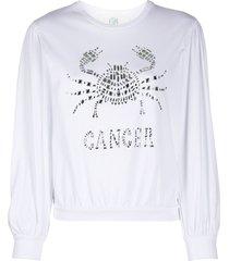 alberta ferretti cancer crystal-embellished sweatshirt - white