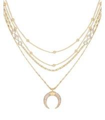 ettika layered chain crescent horn women's necklace