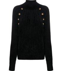balmain button-detailed turtleneck sweater