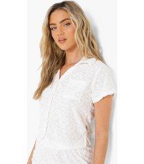 ofcl korte badstoffen blouse met reliëf, cream