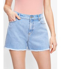 loft petite distressed high rise cut off denim shorts in original mid indigo wash