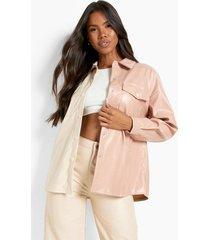 contrasterende pu blouse, beige