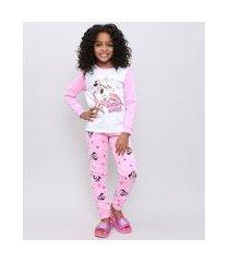 pijama infantil em moletom minnie manga longa rosa claro