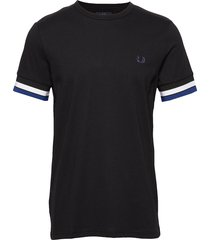bold tipped t-shirt t-shirts short-sleeved svart fred perry