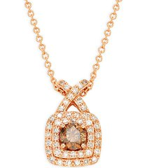 14k rose gold brown & white diamond pendant necklace