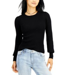 hooked up by iot juniors' puff-sleeve sweater