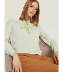 motivi maglia boxy con spacchi donna verde