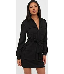 nly one pocket tie dress loose fit