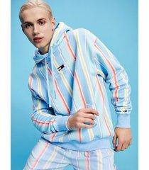 tommy hilfiger men's organic cotton stripe hoodie light powdery blue / stripe - xxl