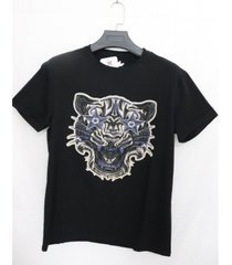 heads or tails 3d graphic printed starstruck tiger rhinestone studded t-shirt