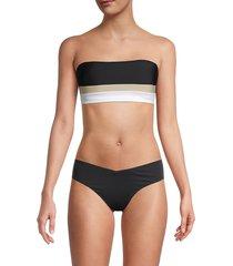 dkny women's colorblock bandeau bikini top - navy - size xs