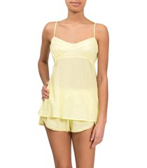 women's everyday ritual lily daisy camisole short pajamas, size x-large - yellow