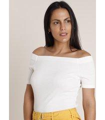 blusa feminina básica canelada ombro a ombro manga curta off white