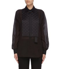 quilted satin bib voile shirt