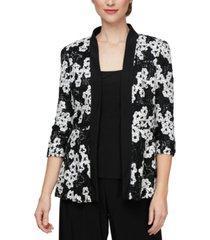 alex evenings sequinned soutache jacket & top set