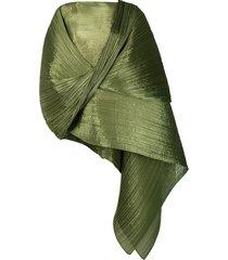 pleats please issey miyake crinkled wraparound top - green