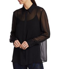 st. john women's luxe silk georgette blouse & camisole - caviar - size l