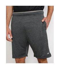 bermuda masculina esportiva ace com elástico aparente e bolsos cinza mescla escuro
