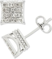men's diamond square cluster stud earrings (1/2 ct. t.w.) in 10k gold