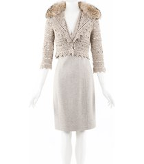 carolina herrera cashmere crochet fox fur dress cardigan beige sz: xs