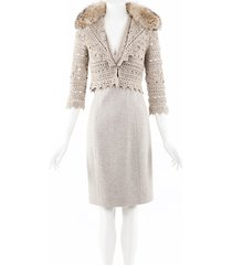 carolina herrera cashmere crochet fox fur dress cardigan