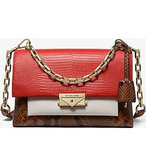 mk borsa a spalla cece media convertibile in pelle color block - dkprsimn mlt - michael kors