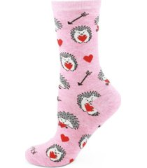 women's love struck hedgehog bamboo crew socks