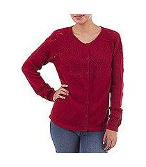 100% baby alpaca sweater, 'sweet mystique in crimson' (peru)