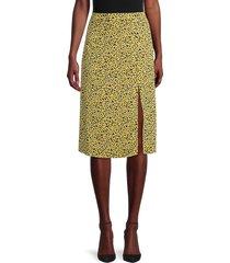 bcbgeneration women's printed front-slit skirt - size 8