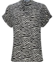 blusa cuello neru estampado animal print color negro, talla 10