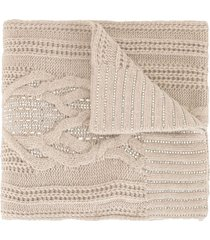 ermanno scervino chunky knit scarf - neutrals