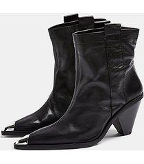 mellie black leather toe cap boots - black