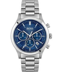boss men's chronograph metronome stainless steel bracelet watch 44mm