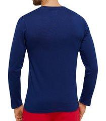 schiesser pyjamashirt print 75 blauw