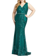 plus size women's mac duggal sequin trumpet gown, size 22w - green