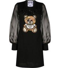 moschino teddy bear embroidered dress - black