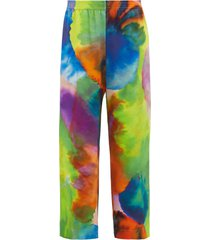 neon tie-dye print wide leg silk trousers