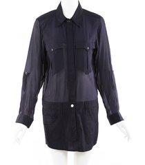 isabel marant collared jacket dress blue sz: s